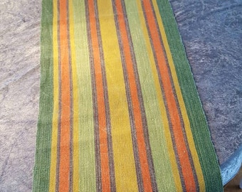Swedish Vintage Table Runner Handwoven Colours Linen Folk Art Scandinavian Modern Linen