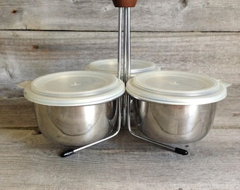 """Vintage Foley """"Store 'n Server"""" Stainless Steel Condiment Caddy with bowls and lids"""