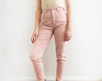 Vintage Blush Pink High Waist Jeans
