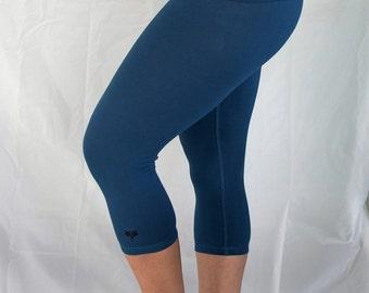 Cobalt 3/4 LengthYoga Pants/Yoga/Cotton Yoga Clothes/Natural Fiber Yoga Clothes/Capri YogaTights/Blue Yoga Pants/Women's Yoga/Yoga/Yoga/Yoga