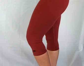 Rust 3/4 Length Yoga Pants/Yoga/Yoga Fitness Tights/Yoga Leggings/Capri Yoga Tights/Womens Yoga Clothing/ Yoga Clothes/Yoga/Yoga/Yoga