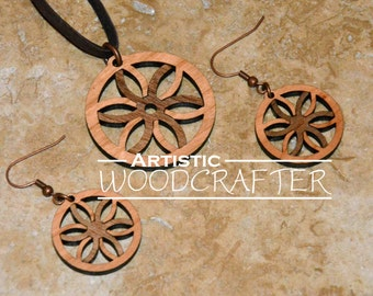 Wooden Geometric Necklace and Earring set (Cherry/Walnut)