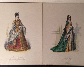 TWO Antique PLATE PRINTS of French Royals by Pauquet - Lady Jane Grey and Jeanne d' Autriche