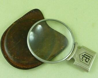 LR Hand Lense Magnifier Leather Pouch Vintage