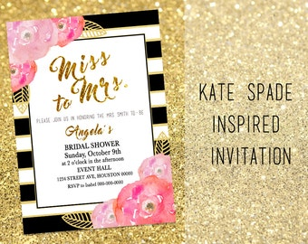 Amazing Bridal Shower Invitation Flowers And Stripes Invitations Gold And Black  Instant Download