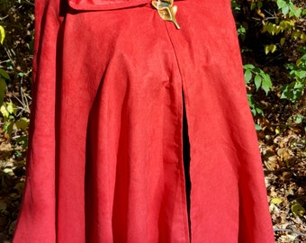 READY TO SHIP Short Red Cloak - Microsuede Full Circle Cloak Cape with Hood and Leather Leaf Pin