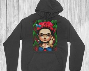 Frida Black Hoodie for Woman Small Medium Large XLarge 2XL