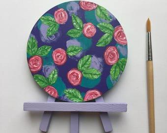 Original Art, Miniature Art, Mini Painting, Abstract Painting, Abstract Art, Pink & Purple Art, Rose Art, Original Painting, Round Art