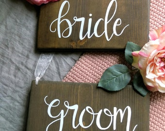 Bride and Groom chair signs, chair signs, Bride and Groom signs, Rustic wedding signs