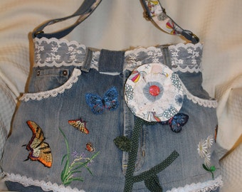 Recycled Denim bag, purse with a butterfly theme.