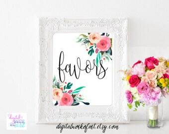 Wedding Favors Sign Printable, Floral Wedding Sign, Favors, Love is Sweet, Colorful Floral Wedding Decor, Favor Table, Reception Sign