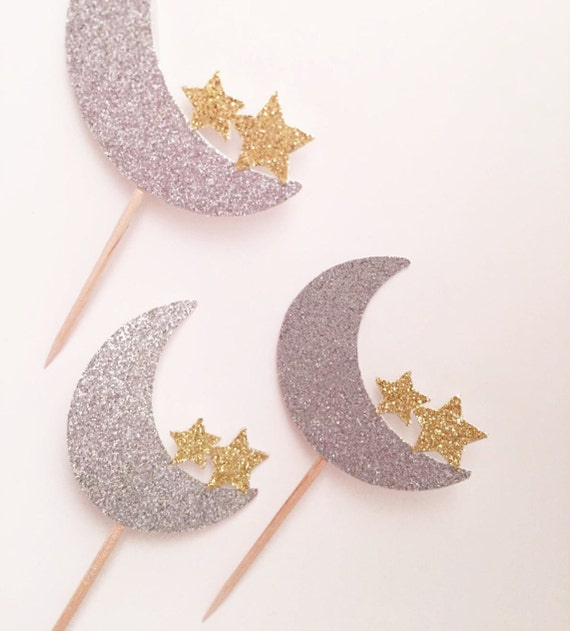 Moon and Star Cupcake Topper Twinkle Twinkle Little Star