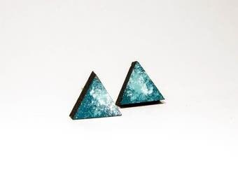 Earrings wooden triangle blue tones
