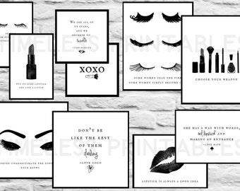 Makeup Gallery Wall - Esthetics, Eyelash extensions, Lipstick, Kiss, Quotes, Eyebrows - Salon decor, Spa decor, Home decor, Office decor