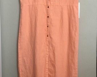 Bright Peach Linen Sleeveless Shirtdress, Size Medium