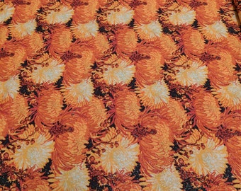 Orange Mums with Gold Sparkles Cotton Fabric from JoAnn's