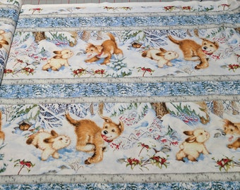 Quiet Bunny Noisy Puppy-Stripe Cotton Fabric from Wilmington Prints