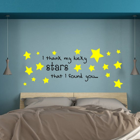 ... I Thank My Lucky Stars, Love Decals, Bedroom Wall Decals, Lover Wall  Decals