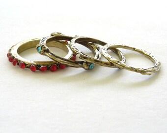 Multi White Blue Red Diamonte Bohemian Rings