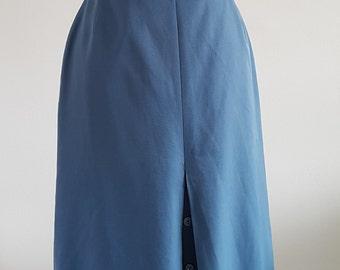 Vintage St Michael blue A-line skirt   UK Size 14 (Tall)