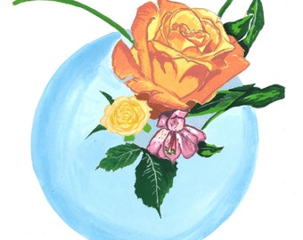 Rose Print-Giclee Fine Art Print of Original Gouache Painting