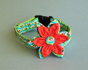 Rainbow dog collar with red flower Cute dog collar for girls Small dog collars female Summer cat collar Dog accessories Pet apperal