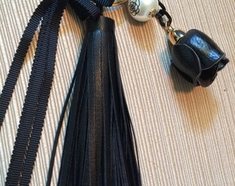 Designer Inspired Bag Charm- Faux Leather Rose Tassel with Pearl Camillia