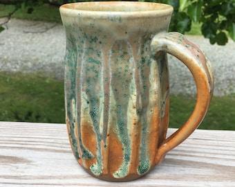 orange and blue mug | large mug | beer stein | ceramic stein | oversized mug | large coffee mug | beer mug | gift ideas | mothers day