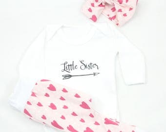 Baby Sister Coming Home Outfit Pink with Hearts, Organic cotton, Baby Headband, Baby Bow, Baby girl, Newborn coming home outfit,Organic baby