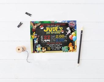 Pokemon Invitations | Pokemon Birthday Invites | Pokemon Go Party | Pokemon Printable | Pokemon Party Ideas | Pokemon Birthday Card  Pikachu
