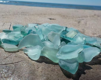 "10 pcs Light blue TINY Genuine Sea Glass Bulk - 0,6-1"" - Craft quality-For Jewelry Art Mosaic-Glass Home Decor-Wedding decor#41B#"