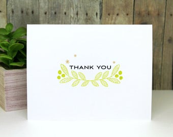 Handmade Thank You Card - Hand Made Card - Thank You Note Card - Thanks Card with Foliage - Hand Stamped Thank You Card - Embossed Card
