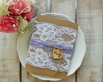 Rustic Wedding Invitation Suite, Rustic Wedding, Printed invitation Set, Lace Wedding Invitation, Rustic Invitation, Purple Wedding, Wood