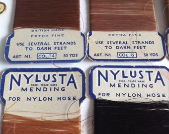 Vintage nylon, cotton hosiery thread, set of 10 packs, Nylusta, Emaness, Anchor Filosheen, 1950's.