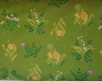 Heather Ross Sleeping Porch Olive Bouquet Cotton Lawn Fabric