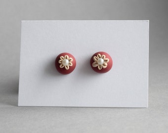 handmade earrings made from polymer clay - flower wine