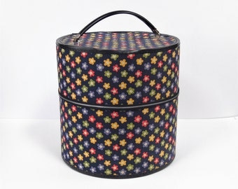Flower Pattern Hat / Wig Box - 1960s Vintage - Navy blue cloth w/ colorful flowers - Sky blue patterned vinyl interior - in VG condition