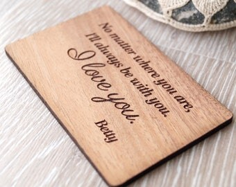 5th wedding anniversary gift idea, wood wallet insert card, personalized wallet card, wallet insert, wooden anniversary gift, laser engraved