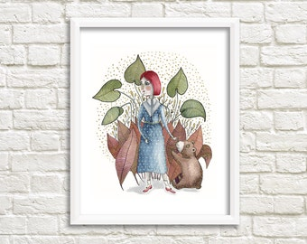 Lady and Baby Bear Illustration, Art Print