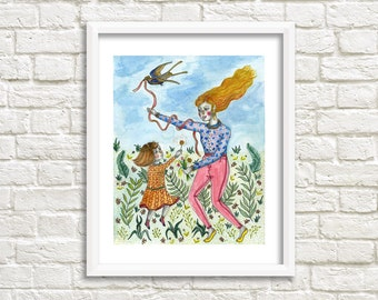 The Ladies and the Bird Illustration, Art Print