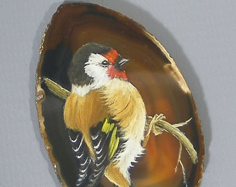 Agate,  Painting, Goldfinch, Brazilian Agate, Hand Painted Goldfinch, Agate Slice, Free UK Postage
