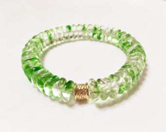 Czech glass green and clear beaded stretch bracelet, translucent green Czech glass bracelet