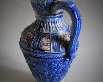 Vintage Westerwald Jug Pitcher German Blue Salt Glazed