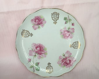 Dresden China Pink Floral Plate