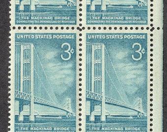 1958 Mackinac Bridge Michigan Postage Stamps Unused Block