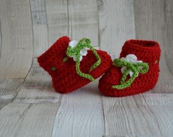 Strawberry shoes, strawberry shoe, crochet