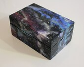Wooden Stash Box, Wooden Jewelry Box, Trinket Box, Galaxy Painted Stash, 420 Box, Pipe Stash, Pipe Box, Galaxy Space, Acrylic Painted Box