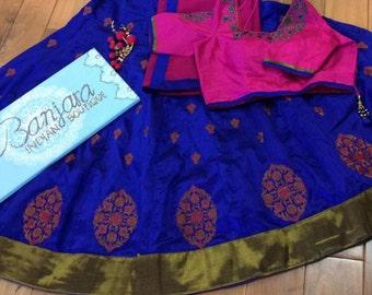 Silk Crop top Lengha Set (blouse Size 36/38, Skirt length 40)
