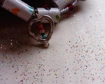 rainbow hearts - beaded cuff bracelet
