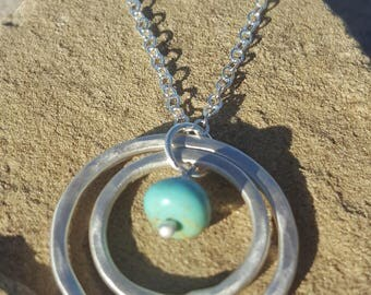 Double Circle and Turquoise Necklace